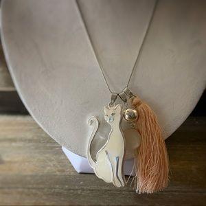 Jewelry - Silver Cat & Peach Tassel Necklace